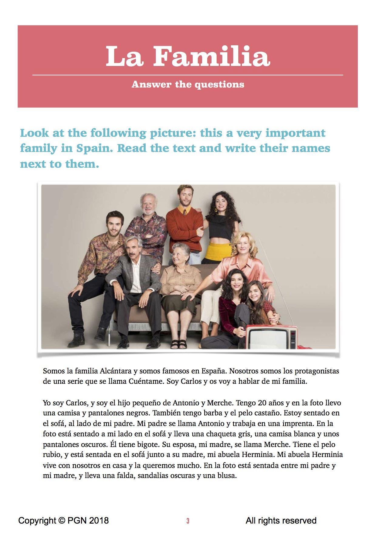 La Familia Family In Spanish Class Is A Resource Full