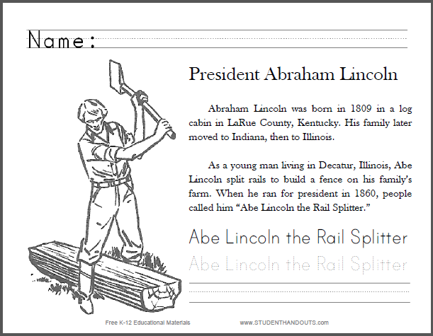 Abe Lincoln The Rail Splitter Primary Worksheet Free To