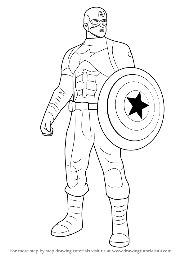 How To Draw Captain America From Captain America Civil War Drawingtutorials101 Captain America Drawing Captain America Coloring Pages Captain America Sketch