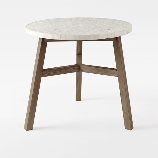 Mosaic Outdoor Bistro Table   White Marble