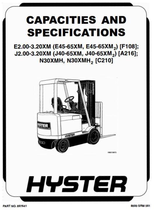 Hyster A216 J2 00xm J40xm J2 50xm J50xm J3 00xm J60xm J3 20xm J65xm Workshop Manual Forklift Trucks Manual