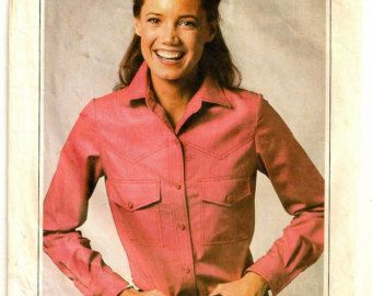 """A Classic Topstitched Western-Style Yoked, Collared, Long Sleeve Shirt Pattern - Misses Sizes 14-16-18, Bust 36"""" - 40"""" - Simplicity 9099"""