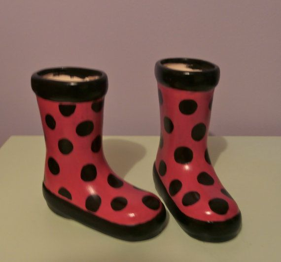 Ceramic Rain Boot Planter Red With Black Spots By Emmisowls 12 00