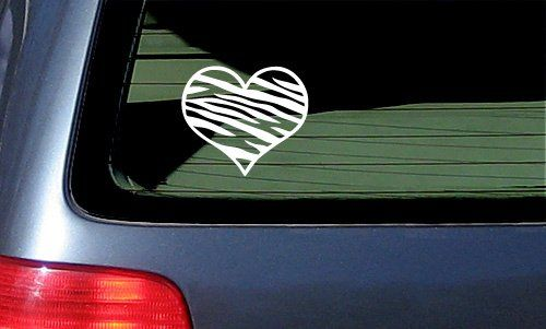 Zebra print heart car decal vinyl sticker zebrahttp www amazon