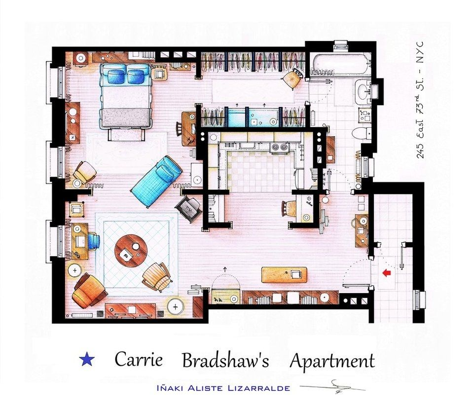 Floor Plans Of Homes From Famous Tv Shows Satc The Simpsons Will