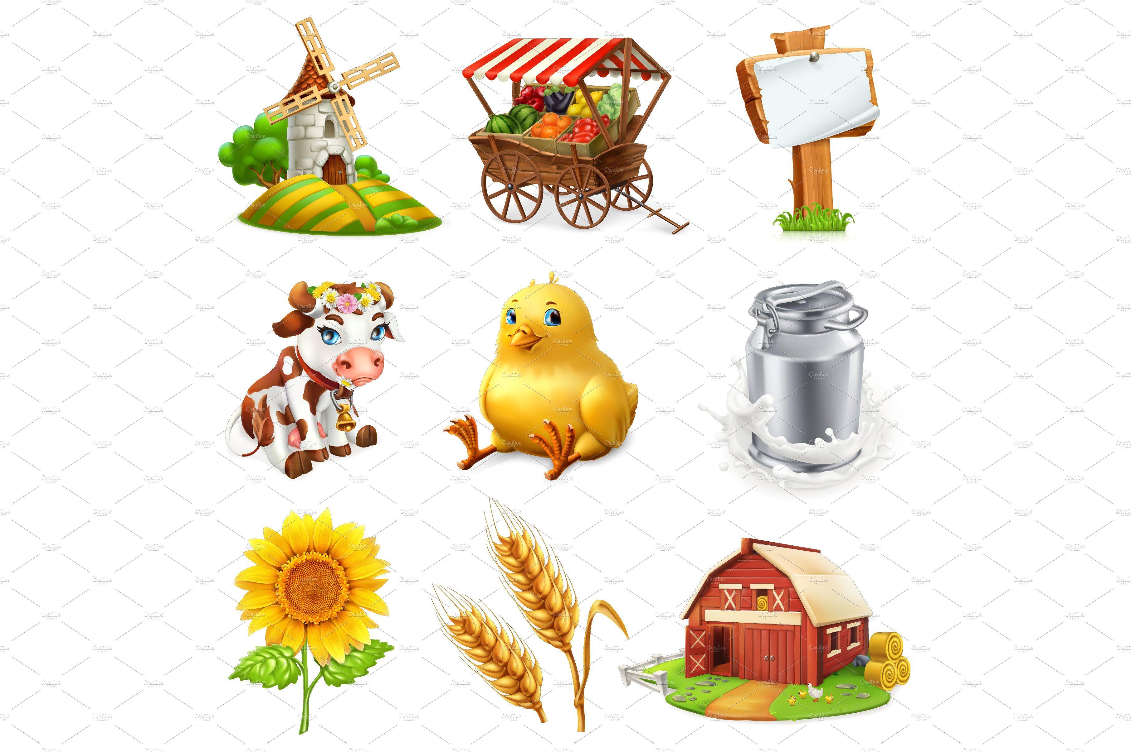 Farm set. 3d vector icon Vector icons, Vector file