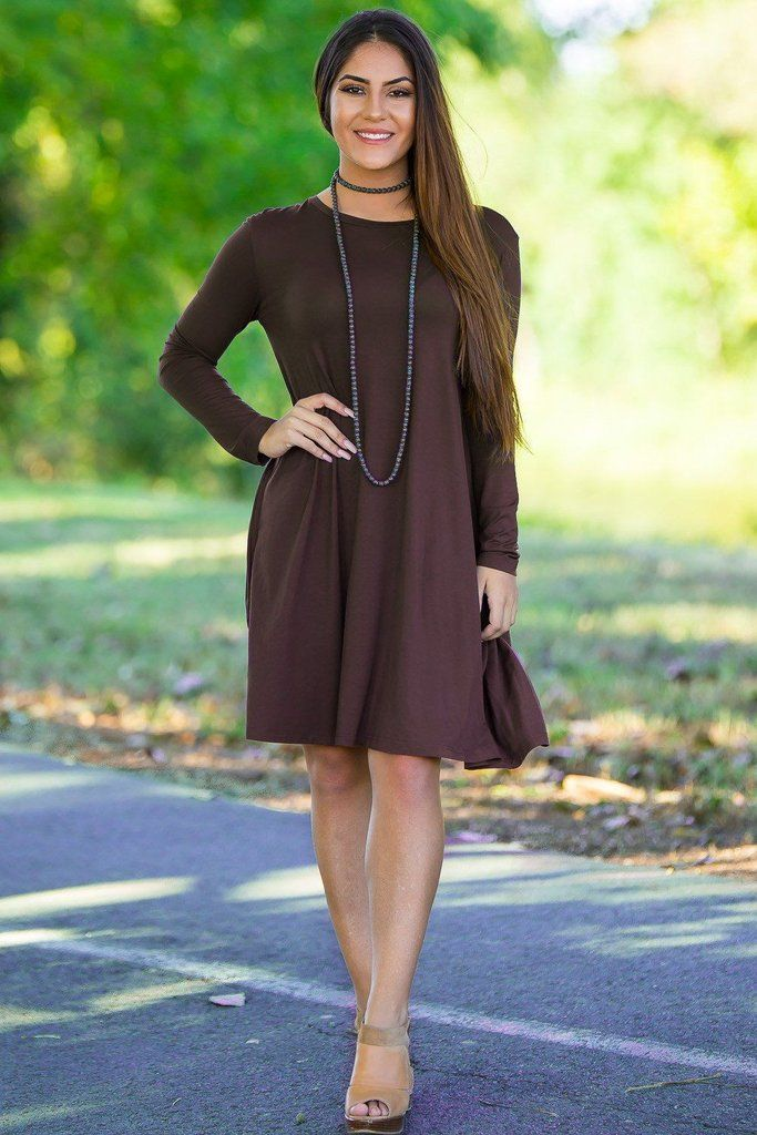84d26b8ef760 Piko Long Sleeve Swing Dress - Dark Brown