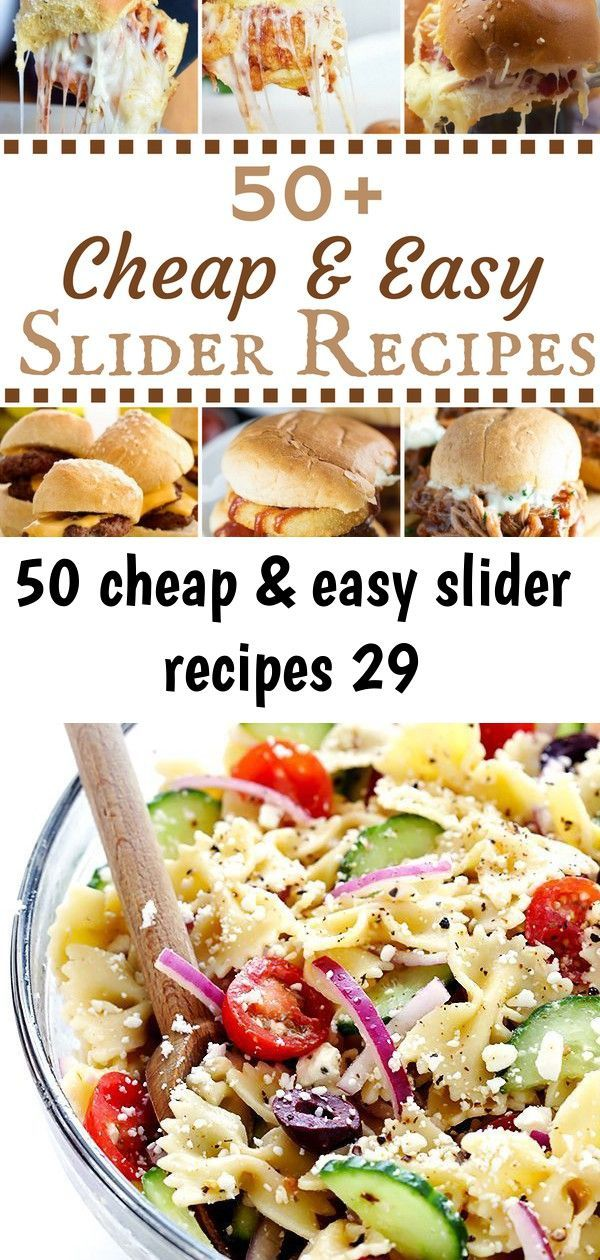50 cheap & easy slider recipes 29 #buffalochickenpastasalad These sliders are perfect for a game day appetizer, a Super Bowl party or for a cheap and easy lunch! You can pair them with some fries or chips for a complete meal. Chicken Slider Recipes Chicken Parmesan Sliders from Food Curation Slow Cooker Buffalo Chicken Sliders from Simply Stacie Chicken BBQ Sliders from Kraft Teriyaki … Mediterranean Pasta Salad -- quick and easy to make, and tossed with a tasty lemon-herb vinaigrette | gimme #buffalochickenpastasalad