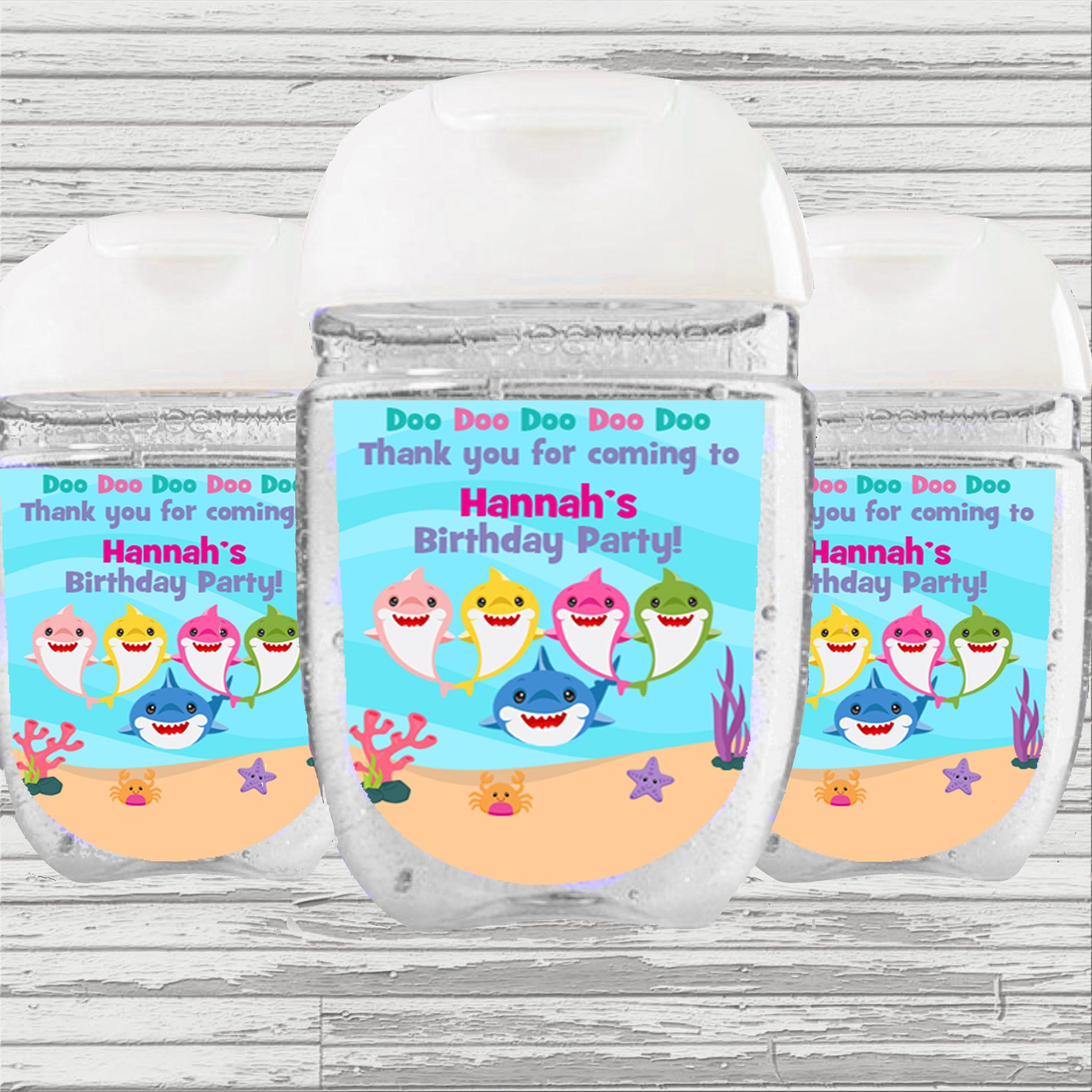 Shark Favor Sanitizer Label Digital File Hand Sanitizer Baby
