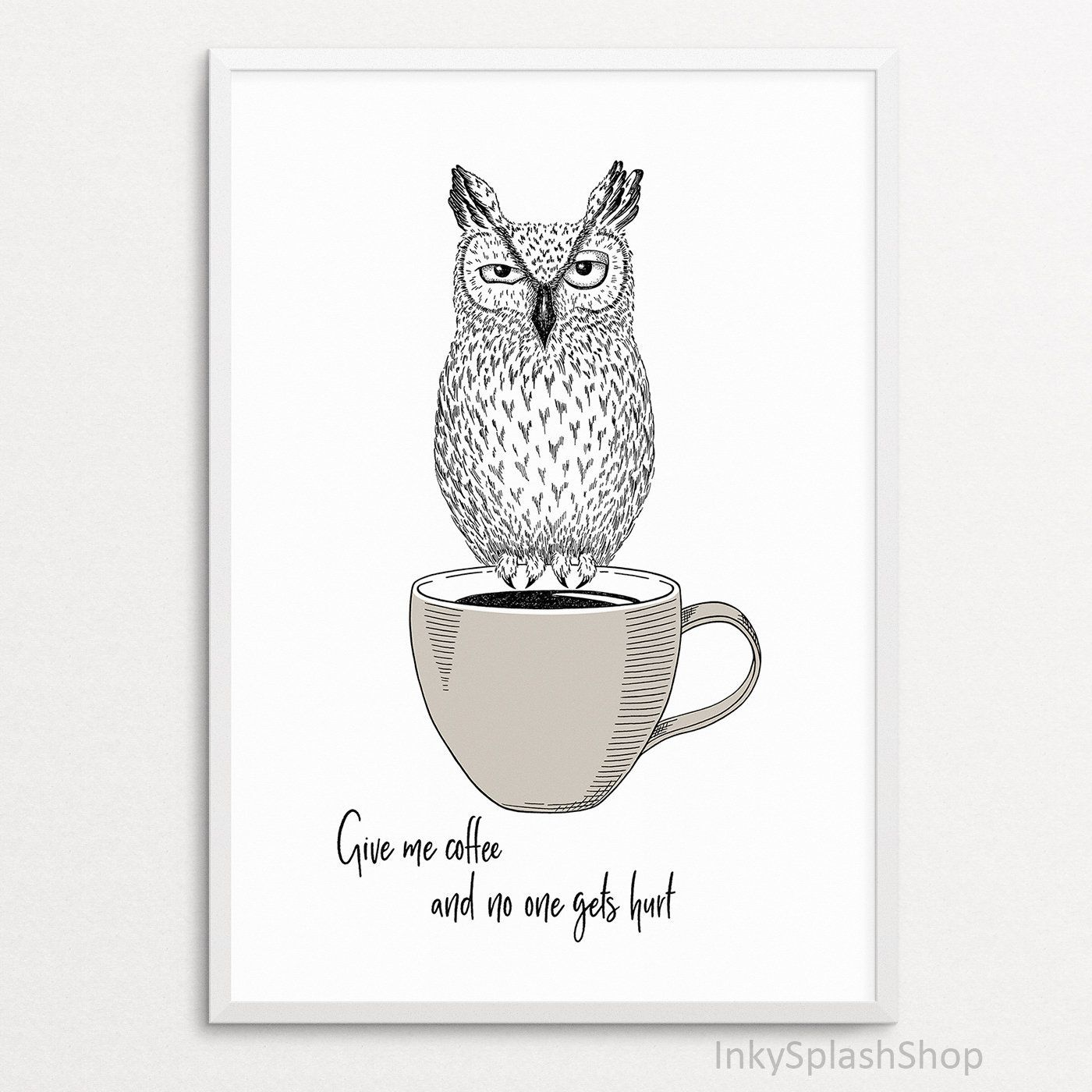 Coffee Wall Art Owl On Cup Drawing Print Kitchen Decor Funny