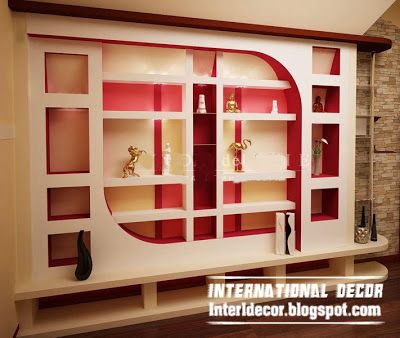 Modern Gypsum Wall Decoration And Shelves For Living Room