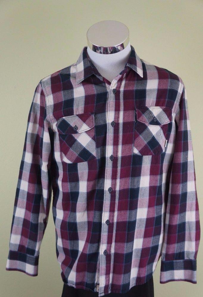 18e605a1 Vans Plaid Check Button Down Long Sleeve Skate Shirt Mens Small ...