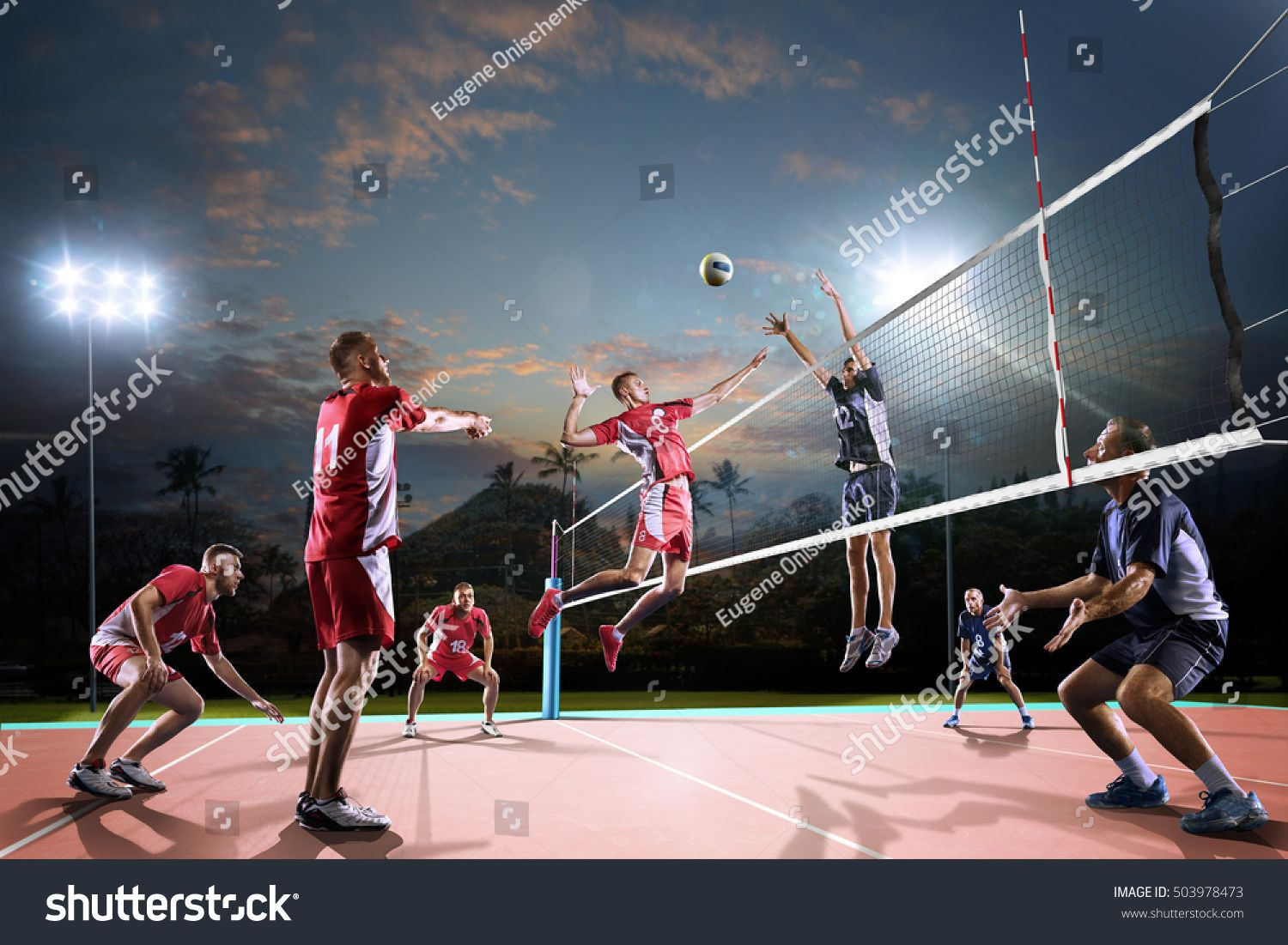 Professional Volleyball Players In Action On The Night Open Air Court Ad Ad Pl Professional Volleyball Professional Volleyball Players Volleyball Players