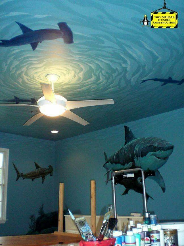 Awesome shark decals for the wall and great detail on the for Ceiling mural in smokers lounge