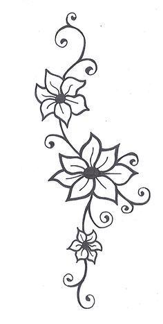 Black And White Flower Vine Designs