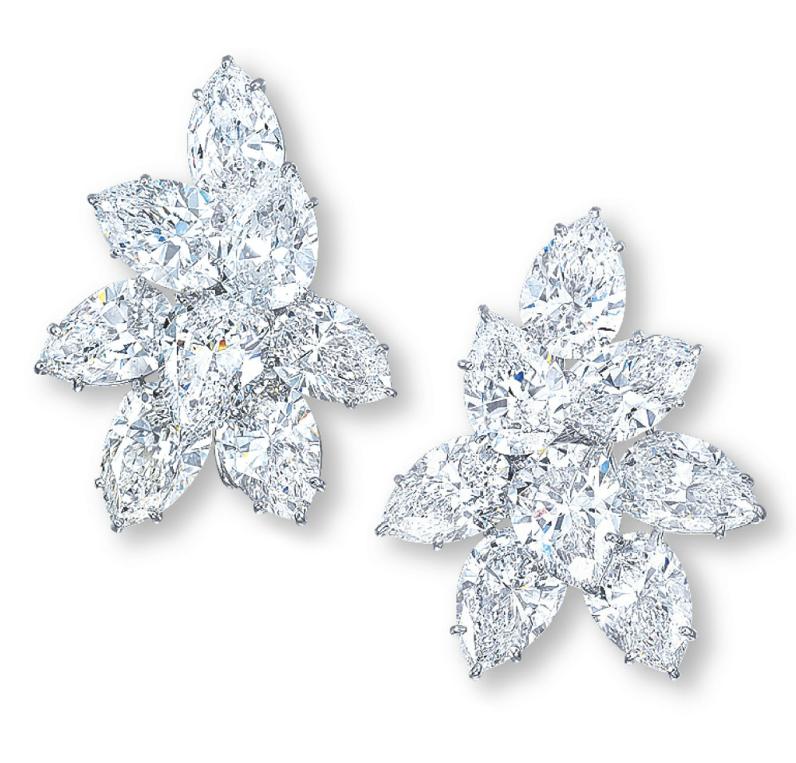 Harry Winston A Pair Of Diamond Earrings Each Designed As A Pair Shaped Diamond Cluster Earring Mounted In Real Diamond Earrings Diamond Earrings Earrings