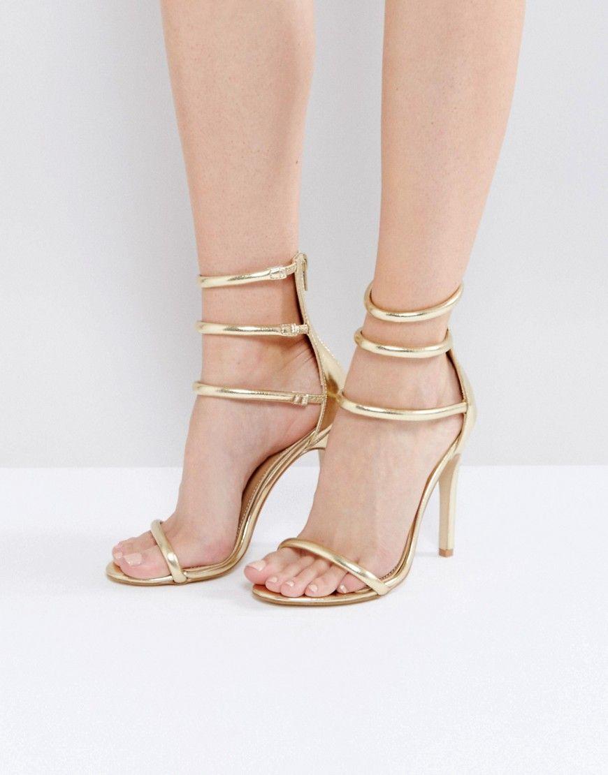 2cdf48c39a9 Public Desire Aisha Gold Strappy Heeled Sandals - Eco Urban ...