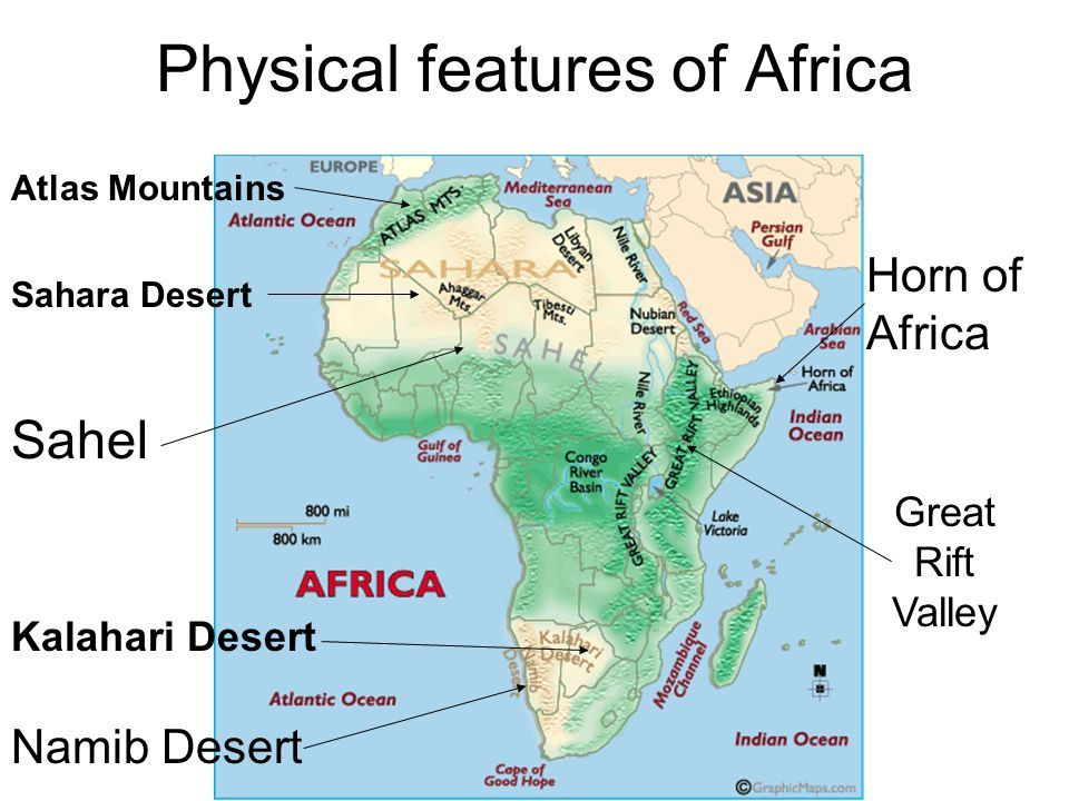 Physical Feature Map Of Africa Physical features of Africa. | Physical features, Africa map