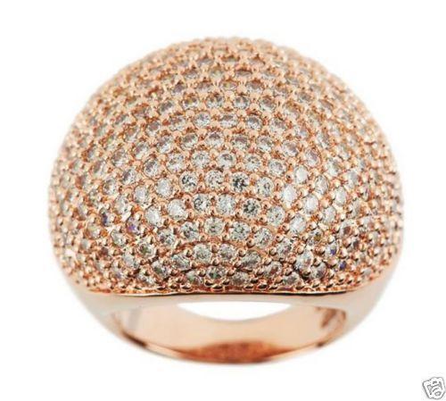 Bronzo Italia Rose Gold GP Bold Domed Pave' Crystal Ring Size - 9 029O #BronzoItalia #Cocktail