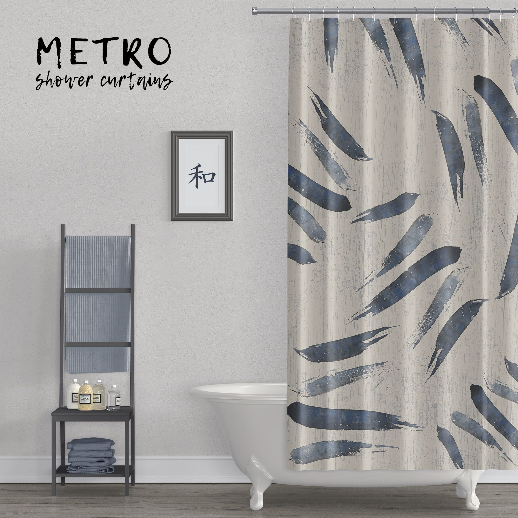 Indigo Blue Japanese Style Brush Stroke Shower Curtain Watercolor Shower Curtain Neutral Bathrooms Designs Striped Shower Curtains
