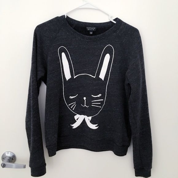 Bunny Sweater Cute, sleepy bunny crewneck sweater from Topshop! In great condition. A gray/blue color. Can layer over a thin shirt or wear alone by itself! Topshop Sweaters Crew & Scoop Necks