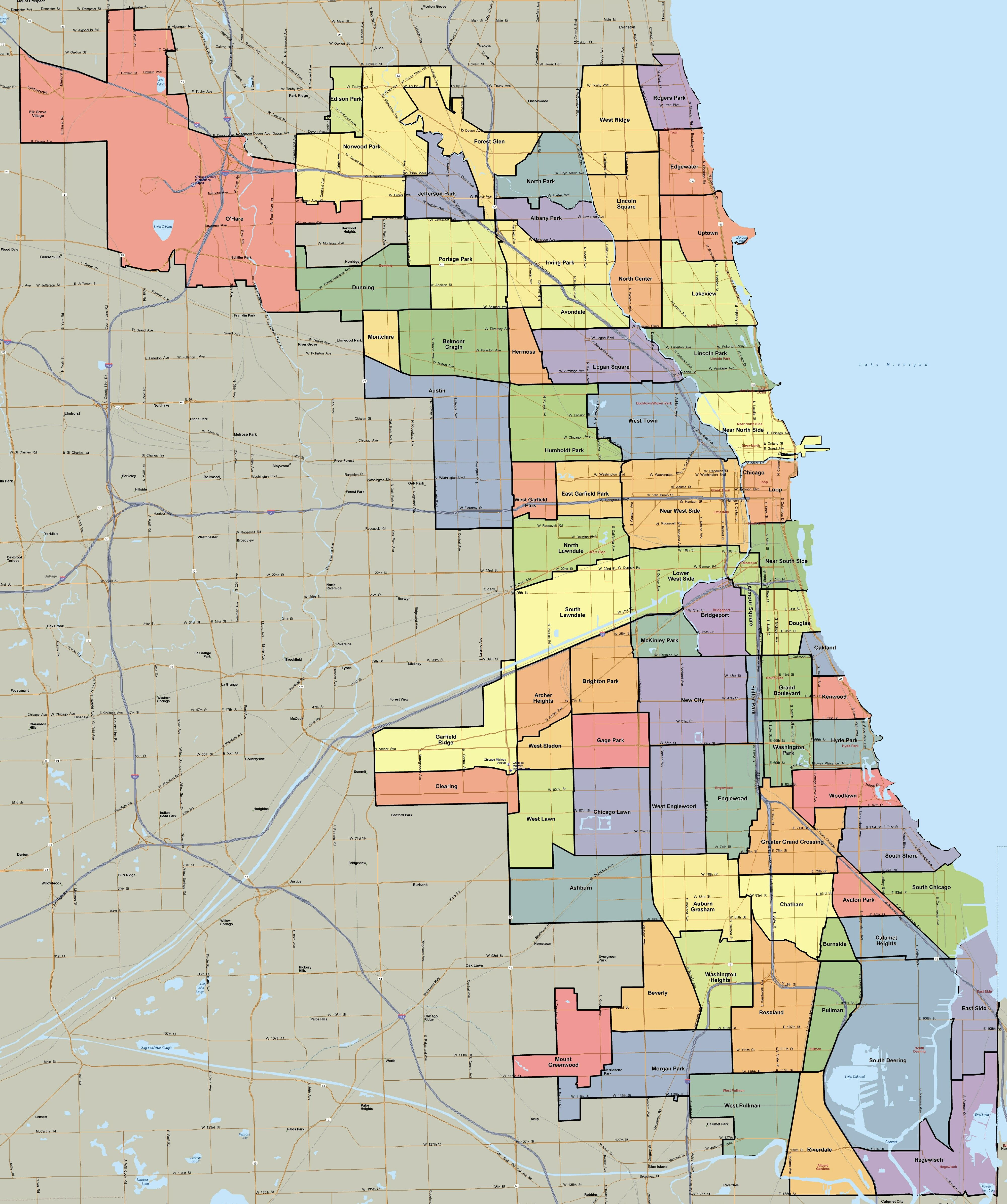 Chicago Neighborhood Map Mortgage Essentials Pinterest More - Chicago kayak map