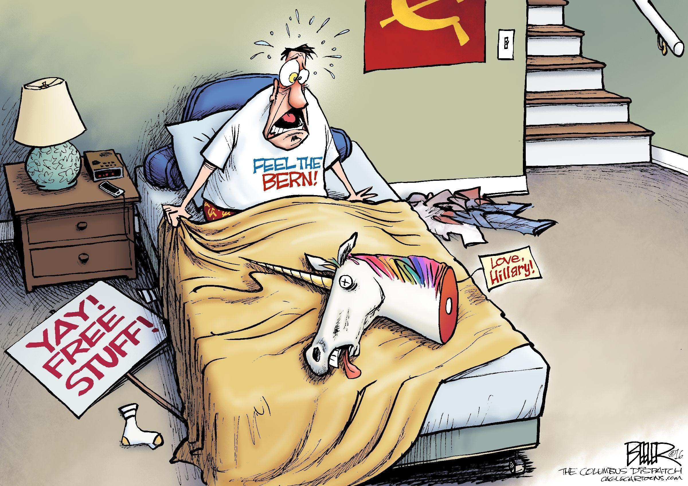 Nate Beeler Cartoon On Bernie Sanders Supporters Feeling The Bern