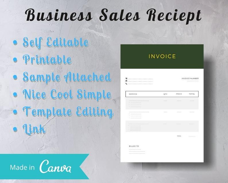 Darkgreen Invoice With Golden Text Business Sales Invoice Etsy Printable Invoice Business Sales Creating A Business