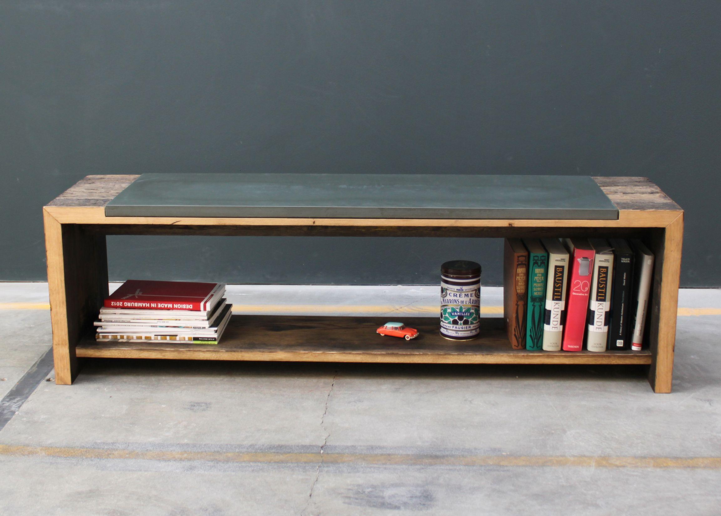 Bank Sideboard Beton Holz Wohnzimmer Esszimmer Design Concrete