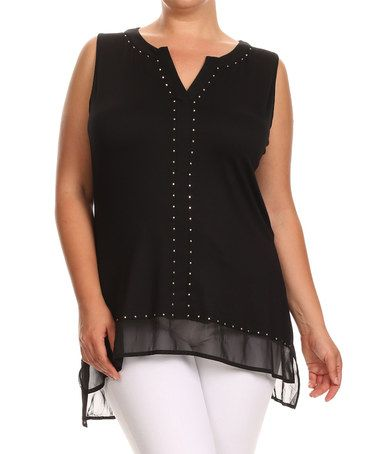 Another great find on #zulily! Black Sheer-Hem Studded-Front Notch Neck Top - Plus #zulilyfinds
