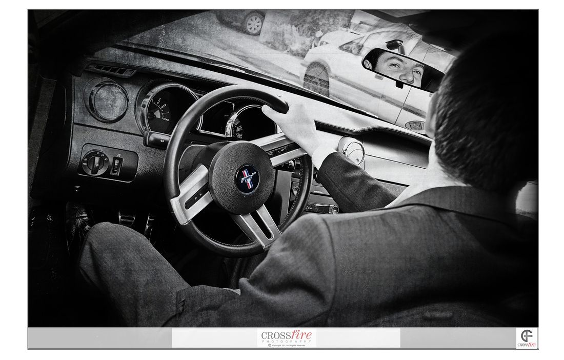 The #Groom deserves to arrive in style #Mustang - Photography by Crossfire Photography www.crossfirephot... #LancashireWedding Photographers. Please do not crop or remove watermark. © Copyright Crossfire Photography 2013