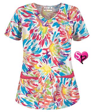 69e91a2ae97 UA Rainbow Girl White Print Scrub Top Style # UA638RAG #uniformadvantage  #uascrubs #rainbow #scrubs #fashionscrubs