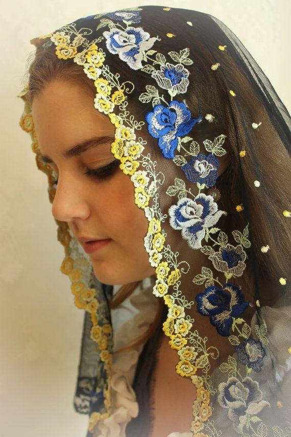 Evintage Veils Our Lady Sweet Flowers Black Lace Chapel Veil Chapel Veil Catholic Veil Veil