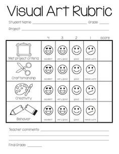 primary school creating art rubric - Google Search ...