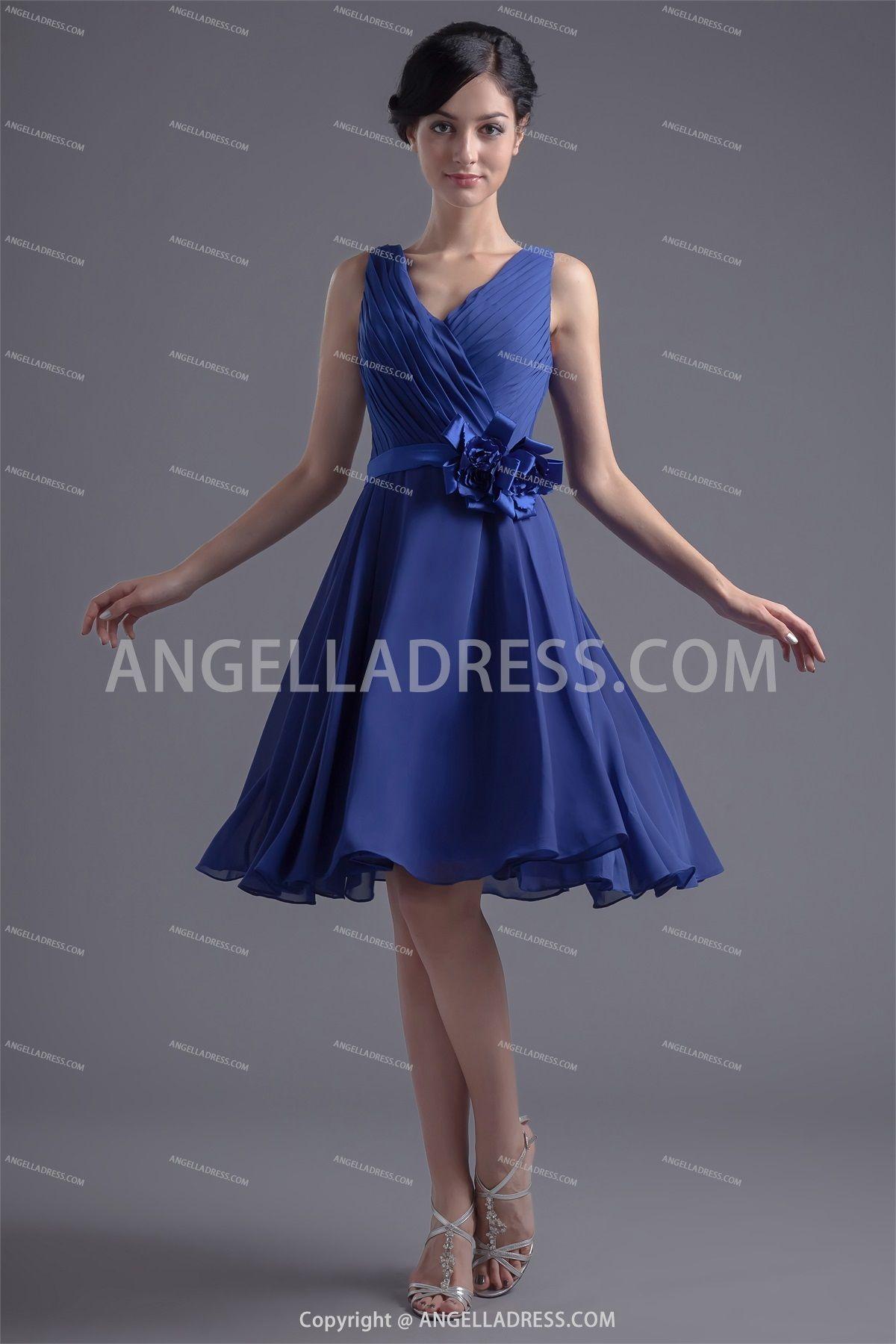 V-Neck Knee Length A-Line Chiffon Bridesmaid Dress SD011635
