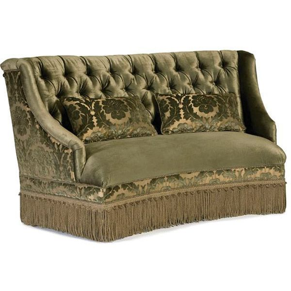 Curved Tufted Olive Green Fabric Settee Bench With Fringe Skirt Upscale Upholsteries New