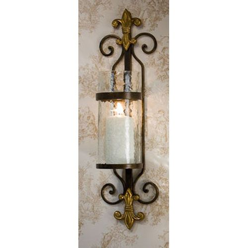 Fleur De Lis Candle Sconce With Rain Gl And Br Medallion Set Of Two