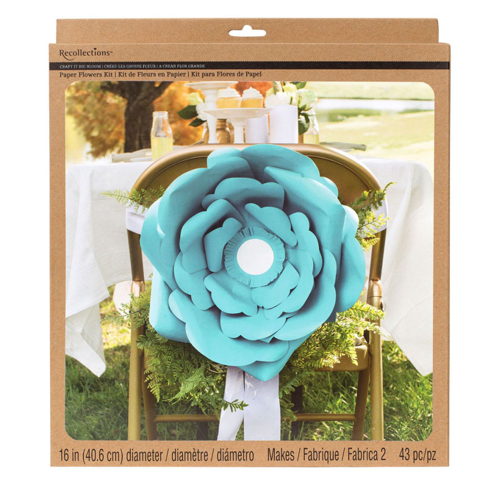 "Recollections™ Craft It™ Big Bloom 16"" Paper Flowers, Turquoise"