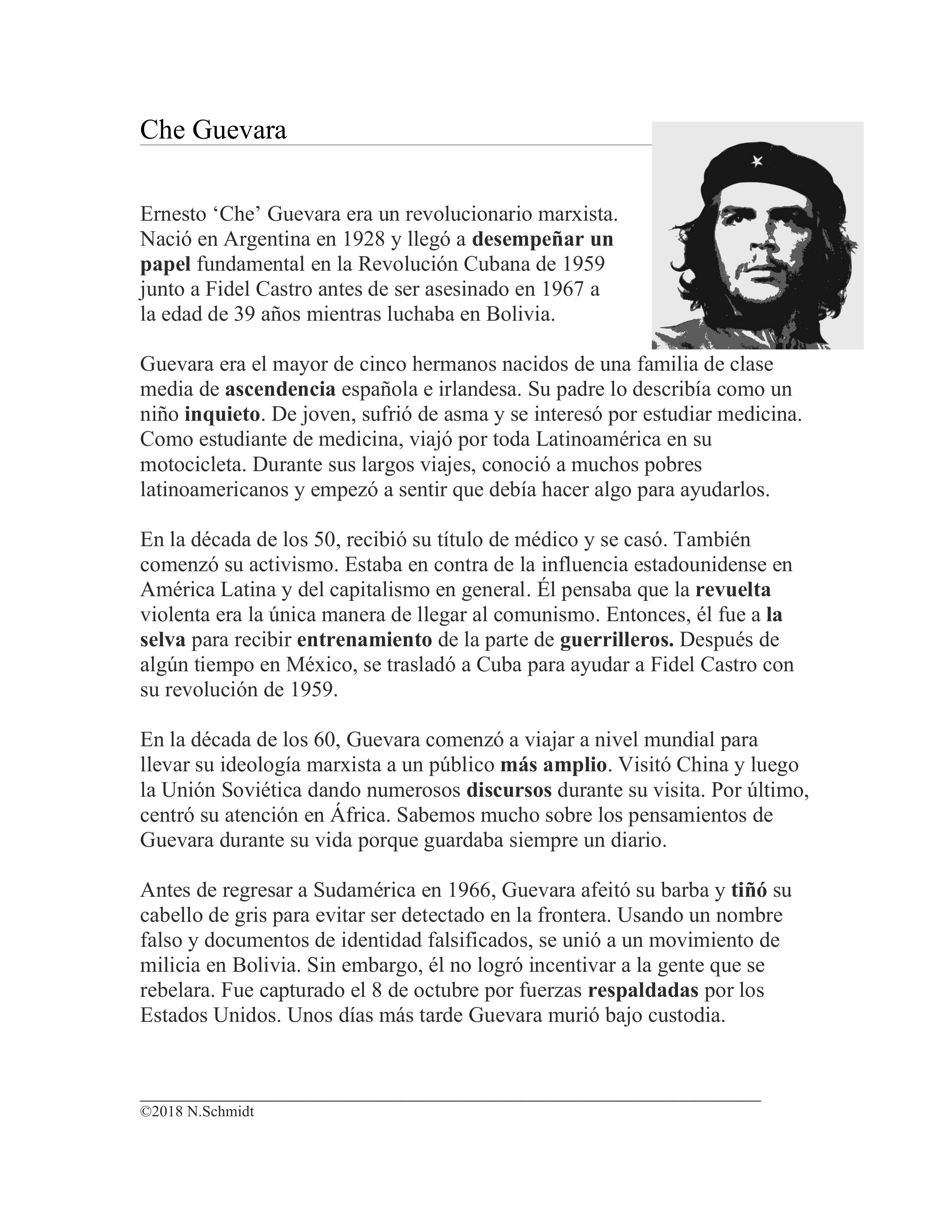 Che Guevara Biografía en Español: Biographie auf Spanisch