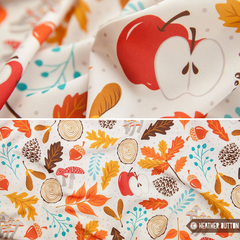 Autumn Woods fabric, wallpaper & gift wrap by Heather ...