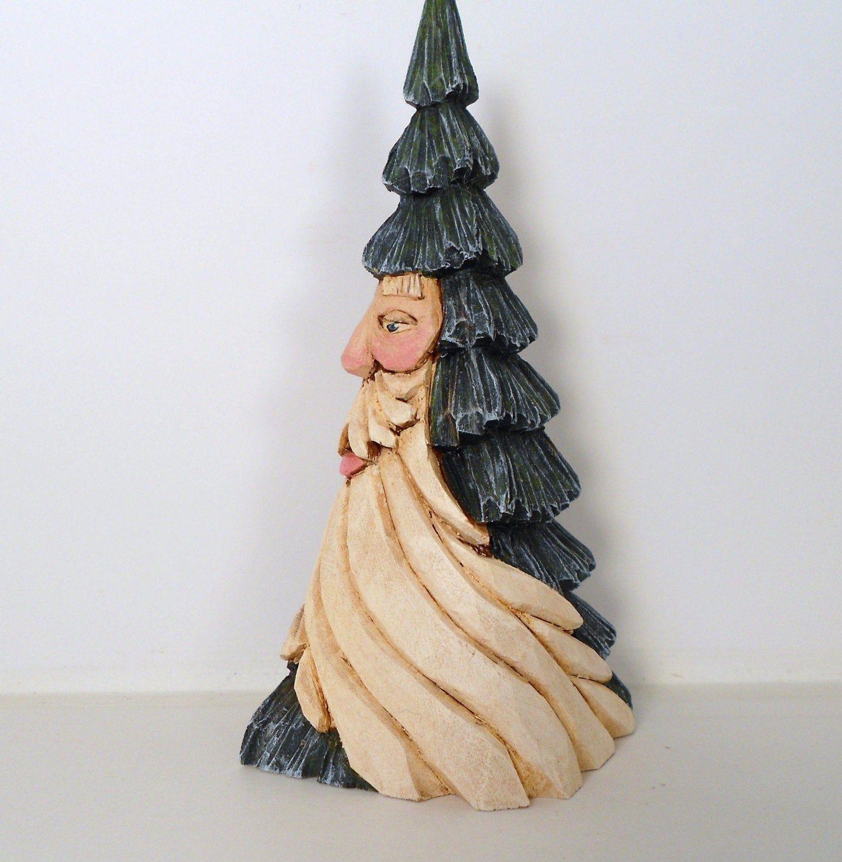 Hand Carved Wooden Christmas Tree Santa W Flowing Beard Etsy Wooden Christmas Trees Christmas Tree And Santa Carving