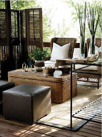 20 Modern Colonial Interior Decorating Ideas Inspired By Beautiful Colonial Homes: Safari Inspired Furnishings For Your Patio Or Screened Porch.