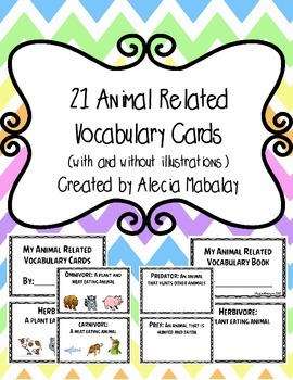 There are 21 defined (animal related) vocabulary cards included in this product.  You can print as individual student books or print, cut and laminate to be used as a science word wall.  Multiple possibilities!Vocabulary words included: herbivore, omnivore, carnivore, endangered, extinct, predator, prey, oviparous, non oviparous, reptile, amphibian, mammal, insect, camouflage, hibernate, habitat, ecosystem, vertebrate, invertebrate, migrate and nocturnal.I have included two sets.