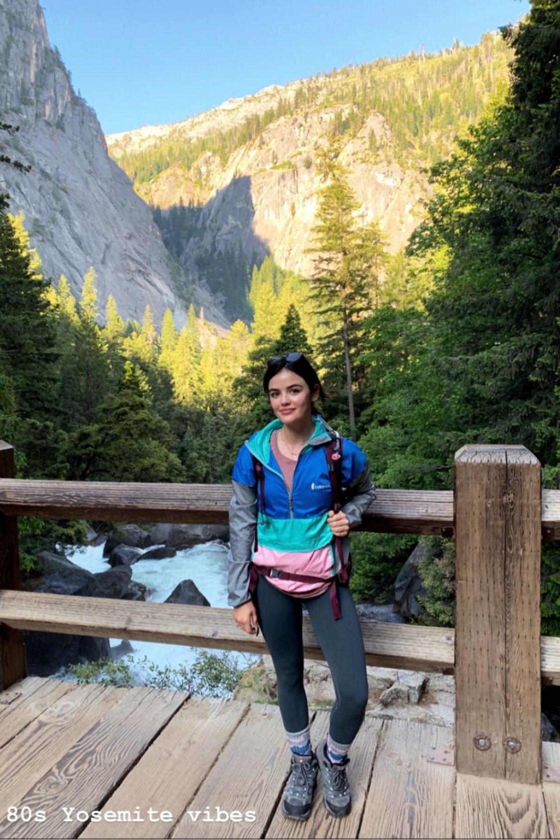 @lucyhale hiking Yosemite in her Cotopaxi Teca