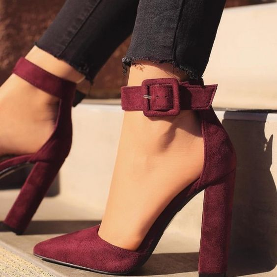 Maroon Ankle Strap Heels Pointy Toe Buckle Chunky Heel Pumps