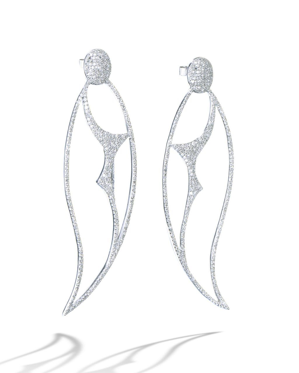 a91b3783e 18 karat white gold drop earrings set with 562 round brilliant cut diamonds  (1.93 carats total weight). Diamonds are G-H color and VS-SI clarity.