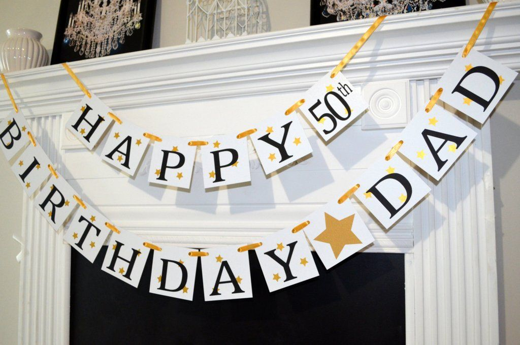 Happy Birthday Dad Banner 50th Gold Decor Backdrop Personalized 60th 70th 80th