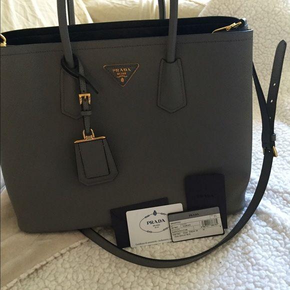 ce4ceeafccc7 PRADA Saffiano Cuir Medium Double Bag Marmo 100% authentic Prada bag. In  like new condition. NO TRADES Prada Bags Totes