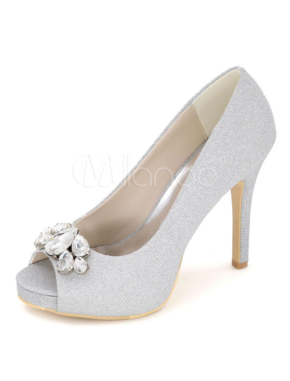 Blue Peep Toe Wedding Shoes Glitter Platform Crystal Pumps Women S Stiletto Heel Bridal Shoes