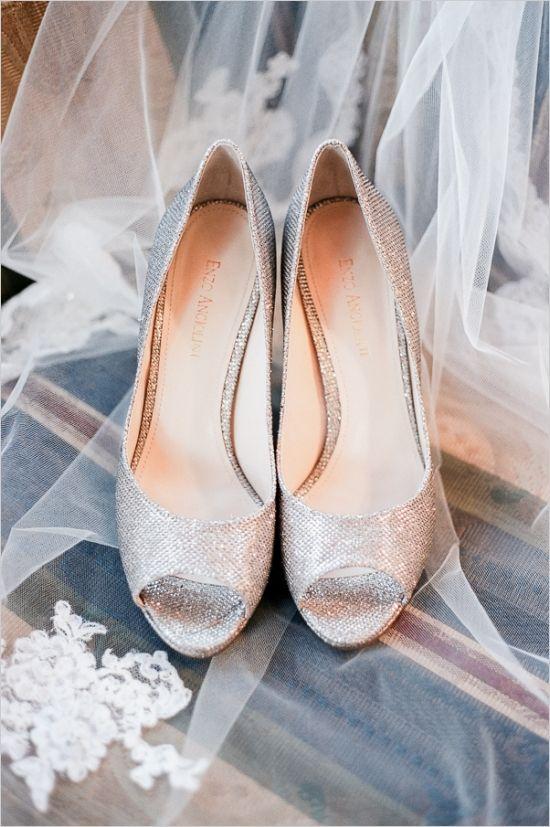 silver enzo angiolini shoes #silvershoes #sparklyshoes #weddingchicks http://www.weddingchicks.com/2013/12/18/colorado-wedding/